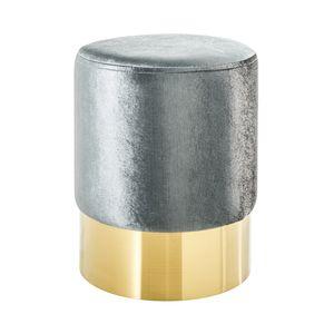 Eleganter Sitzhocker MODERN BAROCK Samt silber gold Couchtisch Fußhocker Hocker Samtstoff