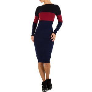 Ital-Design Damen Kleider Strickkleider Dunkelblau