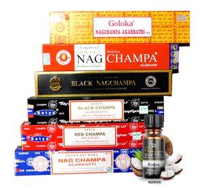 Nag Champa Mix   Räucherstäbchen - Set   6X Nag Champa a 15g + ein original Teufelsküche Premium Duftöl