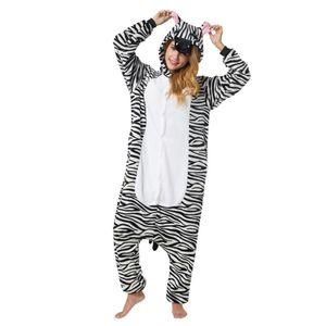 Jumpsuit, Onesie für Erwachsene Zebra XL (175-185cm)