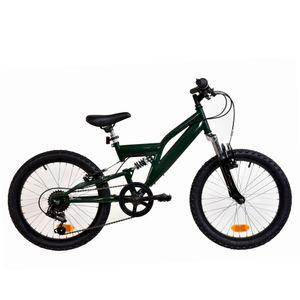 Galano FS180 20 Zoll Mountainbike Full Suspension Kinderfahrrad Fully MTB Kinder ab 6 Jahre Fahrrad, Farbe:khaki, Rahmengröße:31 cm