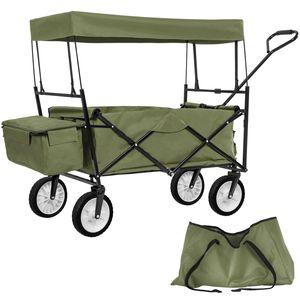 tectake Faltbarer Bollerwagen mit Dach und Tragetasche - grün