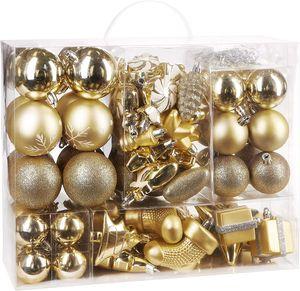 BRUBAKER 77-teiliges Set Weihnachtskugeln Christbaumschmuck Gold/Silber