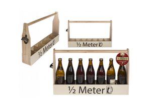Flaschenträger Bierflaschenträger Bierträger aus Holz mit Öffner für 7 Flaschen macht 1/2 Meter