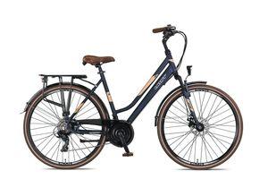 28 Zoll Trekkingrad Damen Umit Ventura 21 Gänge Alu Federgabel Scheibenbremsen Blau 53 cm Rahmengröße