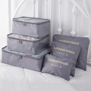 Reise Koffer Organizer Packtaschen Kleidertaschen Packwürfel Set 6-teilig in Grau