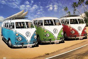 Volkswagen - VW Bus Surfer - Poster Druck - Größe 91,5x61 cm