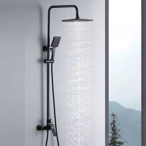 Auralum Duschset Duschsystem Schwarz Duschpaneel, 2 Funktion Regendusche Duscharmatur Set Brauseset
