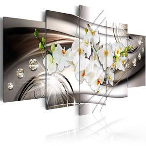 Modernes Wandbild b-A-0238-b-n (200x100 cm) - 5 Teilig Bilder Fotografie auf Vlies Leinwand Foto Bild Dekoration Wand Bilder Kunstdruck ABSTRAKT BLUMEN ORCHIDEE