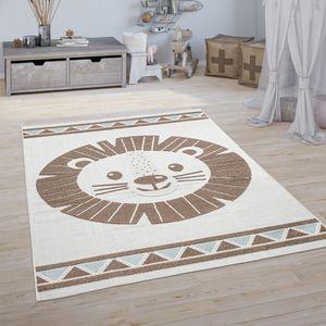 Kinderteppich Kinderzimmer Outdoorteppich Spielteppich 3D Effekt Löwe Beige, Grösse:120x160 cm