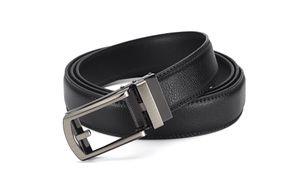 Herrengürtel Automatik Koppel Gürtel Jeansgürtel Leder Schwarz  Anzug 125 cm
