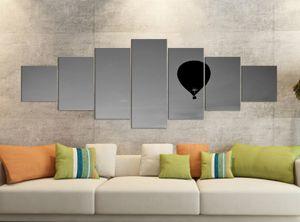 Leinwandbilder 7 Tlg 280x100cm schwarz Heißluftballon Sonnenuntergang Leinwand Bild Teile teilig Kunstdruck Druck Wandbild mehrteilig 9YB2607, Leinwandbild 7 Tlg:ca. 280cmx100cm