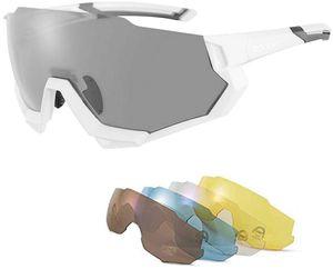 ROCKBROS Fahrradbrille Sonnenbrille Polarisierte Sportbrille UV 400 mit 4 Austauschbare Linse Weiß