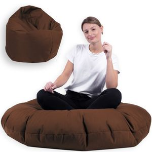 Sitzsack 2 in 1 mit Füllung Indoor Outdoor Sitzkissen 3 Größen Yoga Kissen BeanBag (100cm Durchmesser, Braun)