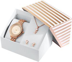 Excellanc Damen - Geschenkset Damenuhr Metallband mit Halskette und Ohrsteckern 1800189 Farbe: 4