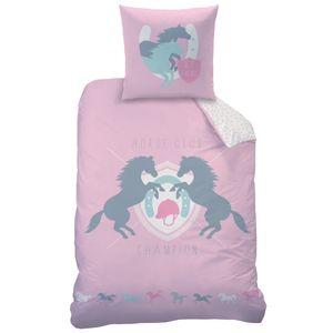 Pferde Kinder-Bettwäsche 80x80 + 135x200 cm · Rosa Mädchen-Bettwäsche in Biber - 100% Baumwolle