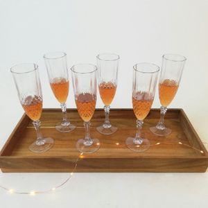 6er Set Kunststoff Champagner-Gläser Kristalleffekt 200ml / Ø6x22,5cm