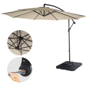 Ampelschirm Terni, Sonnenschirm Sonnenschutz, Ø 3m neigbar, Polyester/Stahl 11kg  creme mit Ständer