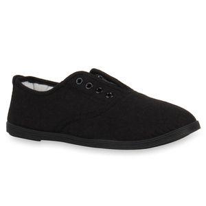 Mytrendshoe Damen Sneakers Halbschuhe Slip-Ons Freizeit Stoffschuhe 72308, Farbe: Schwarz, Größe: 39