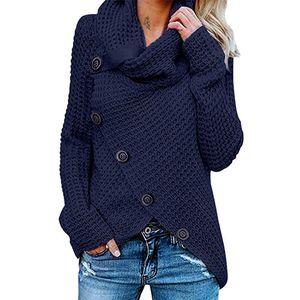 Damen Langarm Rollkragenpullover mit Rollkragen,Farbe: dunkelblau,Größe:M