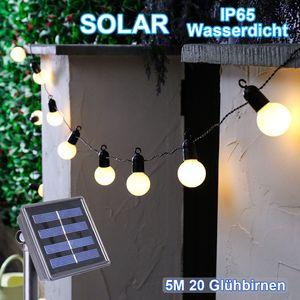 5m G50 20er Globe LED Glühbirnen Solar Lichterkette Warmweiß Außen Garten Deko, Weiß Kugel