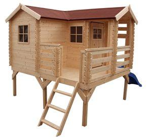 Spielhaus New Park mit Rutsche - 2,37 x 1,92 Meter aus 19 mm Blockbohlen