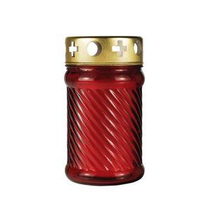 Grablaterne Ø 7,5 cm · 13,5 cm rot aus Glas, inkl. Grablicht T3