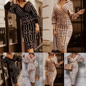 Damen y Gestreiftes Enges Kleid V-Ausschnitt Puffärmel Partykleid,Farbe: Schwarz,Größe:2XL