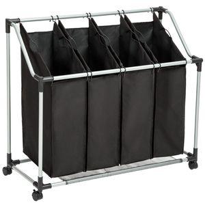 tectake Wäschesortierer mit 4 Wäschetaschen - schwarz