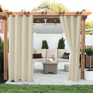 2er Outdoor Vorhang Wasserdicht Blickdicht Winddicht UV Schutz Garten Gardinen(52 * 84 Zoll,Beige)
