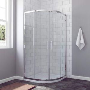 AQUABATOS® BORAS-Serie Duschkabine 90x90cm Viertelkreis mit Schiebetüren 6mm ESG Glas Höhe 185cm