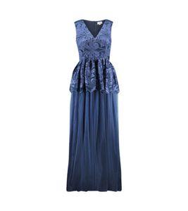 TRUE DECADENCE Maxi-Kleid elegantes Damen Cocktail-Kleid mit floraler Stickerei Blau, Größe:38