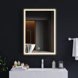 Spiegelschrank Badezimmerschrank Weiß mit Beleuchtung Spiegelschrank Badspiegel mit LED Beleuchtung, mit Steckdose, Landhausstil im skandinavischen Design, Spiegelschrank Badezimmer, Metall,