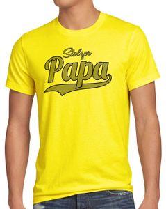 style3 Stolzer Papa Herren T-Shirt Vater Dad Spruchshirt Funshirt, Größe:S, Farbe:Gelb