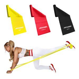 ActiveVikings Fitnessbänder Set 3-Stärken 2m Länge Ideal für Muskelaufbau Physiotherapie Pilates Yoga Gymnastik und Crossfit   Fitnessband Gymnastikband Widerstandsbänder