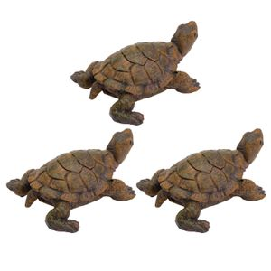 3PCS Mikrolandschaft Turtle Ornament Imitation Turtle Decoration (Olivgrün)