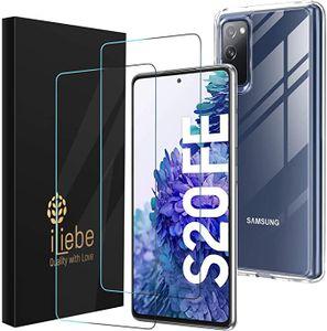 Samsung Galaxy S20 FE Hülle Panzerglas, [1 Handyhülle 2 Schutzfolie] Schutzhülle [Ultra Dünn] Panzerglasfolie TPU Silikon Case Cover Tasche Schale Transparent Crystal für Samsung Galaxy S20 FE 5G