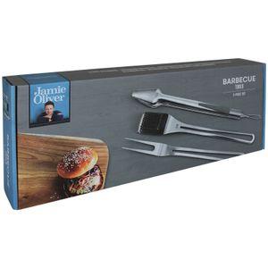 Grillbesteck von Jamie Oliver Grillzange Grillbürste Set Grillzubehör Set BBQ Besteck Edelstahl Grillbesteckset