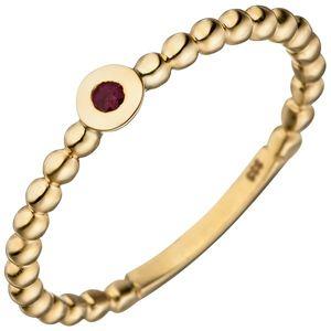 JOBO Damen Ring 56mm Kugel 333 Gold Gelbgold 1 Rubin rot Kugelring Rubinring