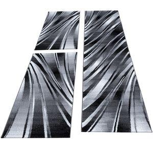 Kurzflor Teppich Bettumrandung Set 3-teilig Schlafzimmer Schwarz Weiß meliert, Farbe:Schwarz, Bettset:2 mal 80x150 cm + 1 mal 80x300 cm