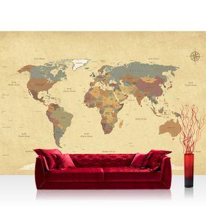 Vlies Fototapete no. 4325  - 368X254 cm Städte & Länder Tapete Landkarte Karte Kontinent Vintage Globus Atlas Reise ocker