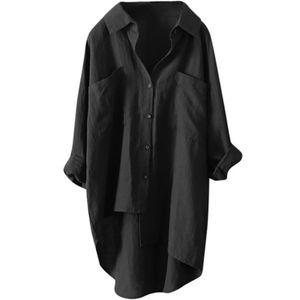 Damen Baumwolle Leinen Langarm Tasche Mittellanges Hemd T-Shirt,Farbe: schwarz,Größe:XL