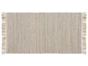 Teppich Beige Jute und Baumwolle 80 x 150 cm mit Fransen Kurzflor rechteckig Boho Stil Wohnzimmer Arbeitszimmer Schlafzimmer