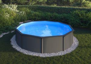 GRE Stahlwandbecken Fidji anthrazi rund ø 3,50m x 1,20m Einzelbecken Pool Rundpool / 350 x 120 cm Stahlwandpool Rundbecken