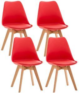 CLP 4er Set Stuhl Linares Kunststoff mit Kunstlederbezug, Farbe:rot, Material:Kunststoff
