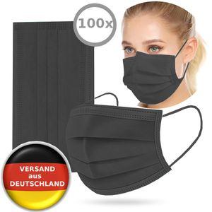 100x Einwegmaske Atemschutzmaske Gesichtsmaske Schutzmaske Mundschutz Atemschutz Einweg Maske Einweg-Masken infektionsschutz Schutz 3-lagig SCHWARZ