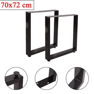 Tischkufen 2er Set Tischgestell (B) 70 x (H) 72 cm, 80x40 mm Stahl Tischbeine, Tischfuß Schwarz