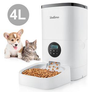 Balimo 4L Automatischer Futterautomat für Katze und Hund mit Programmierbar Timer/LCD/bis zu 4 Mahlzeiten am Tag/Ton-Aufnahmefunktion
