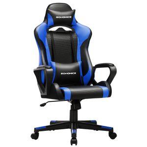 SONGMICS Bürostuhl Schreibtischstuhl Computerstuhl Gamingstuhl höhenverstellbar bis 150 kg belastbar ergonomisch schwarz-blau RCG011B02