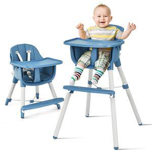 COSTWAY 3 in 1 Babyhochstuhl mit Fußstütze, Hochstuhl & Essstuhl & Kinderhocker höhenverstellbar, Kinderhochstuhl mit Sicherheitsgurt und abnehmbares Tablett, Babystuhl, Kombihochstuhl